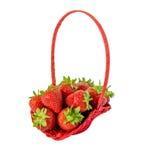 篮子查出的草莓空白木 库存照片