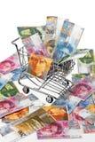 篮子法郎货币购物瑞士 免版税库存图片