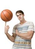 篮子球凉快在手指 库存照片
