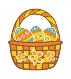 篮子用复活节彩蛋 免版税库存图片