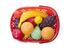 篮子用玩具果子 库存图片