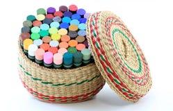 篮子用蜡笔画柔和的淡色彩 库存照片