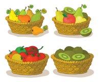 篮子用水果和蔬菜 库存例证
