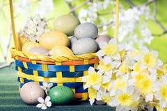 篮子用黄水仙鸡蛋和花束在a背景的  库存图片