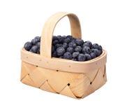 篮子蓝莓查出的白色 免版税库存图片