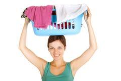 篮子藏品洗衣店妇女 图库摄影