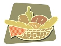 篮子面包向量 免版税库存图片