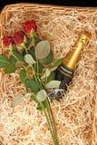篮子香槟 库存照片