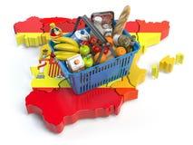 篮或零售价指数在西班牙 客户购物的超级市场 向量例证