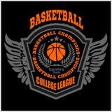 篮球冠军商标集合和设计元素 免版税库存照片