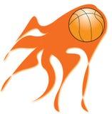 篮球发火焰 免版税库存图片