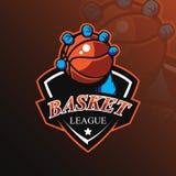篮球吉祥人商标与现代例证概念样式的设计传染媒介徽章、象征和T恤杉打印的 篮球 库存例证