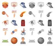 篮球和属性动画片,在集合收藏的单音象的设计 蓝球运动员和设备传染媒介标志 向量例证