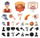 篮球和属性动画片,在集合收藏的黑象的设计 蓝球运动员和设备传染媒介 库存例证