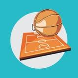 篮球和领域平的设计 图库摄影