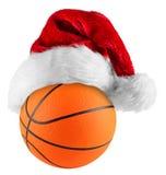 篮球圣诞老人帽子 免版税库存照片