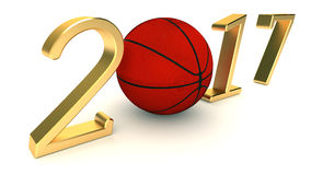 篮球在白色背景的2017年 库存图片