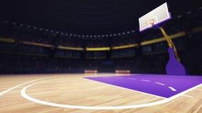 篮球地板与篮子的法院视图 免版税库存照片