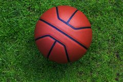 篮球庭院草没人 库存照片