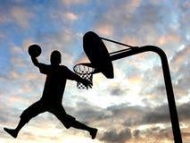 篮球扣篮箍响声 库存照片