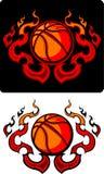 篮球火焰状图标部族向量 免版税库存照片