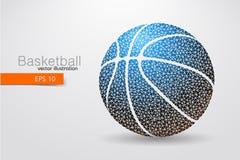 篮球球的剪影从三角的 免版税库存照片