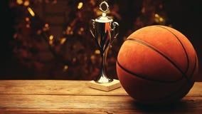 篮球球金杯子木书桌背景 股票录像
