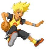 篮球男孩漫画人物滑稽的查出的向量 免版税库存照片