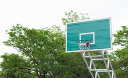 篮球篮在有绿色树的公园作为背景 免版税库存图片