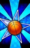 篮球蓝色爆炸星形 库存图片