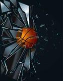 篮球被中断的玻璃 库存例证