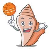 篮球逗人喜爱的壳字符动画片 库存图片