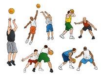 篮球防御射击 免版税库存图片