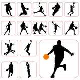 篮球集 免版税库存图片