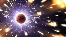 篮球 背景球篮球查出的白色 与火热的火花的篮球背景在行动 库存照片