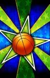 篮球破裂了绿色星形 免版税库存照片