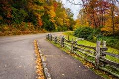 篱芭和秋天颜色沿蓝岭山行车通道朱利安PR的 免版税库存图片