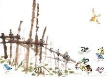 篱芭和鸟 免版税库存照片