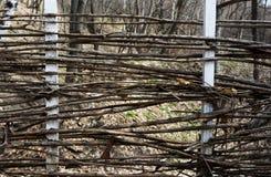 篱芭被编织在干燥枝杈外面 水平的长方形照片 免版税库存照片