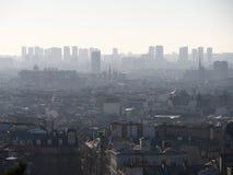 篷皮杜中心和Notre Dame看法从Le Sacre-Coeur 免版税库存图片