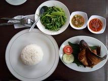 米、油煎的鱼、调味汁和绿色菜 图库摄影