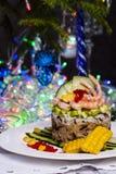 米、鲕梨和虾开胃菜  免版税库存图片