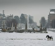 米兰、伦巴第、意大利、雕象和喷泉在朱利奥塞萨尔广场,在新的Citylife地区附近 库存图片