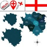 米兰地图有区域的 免版税库存照片