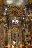 米兰大教堂中央寺院二米兰的内部 图库摄影