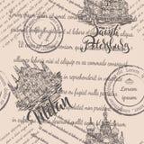 米兰大教堂和救主的教会血液的与在米黄backgro的圣彼得堡和米兰无缝的样式上写字 免版税库存图片