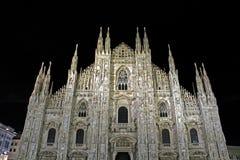 米兰大教堂在晚上 免版税库存照片