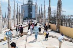 米兰大教堂大阳台有未定义人民的 免版税库存图片