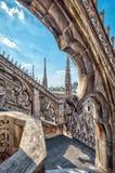 米兰大教堂屋顶的细节,意大利 库存照片