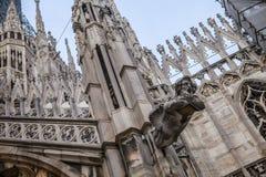 米兰大教堂屋顶细节,中央寺院,意大利 免版税库存图片